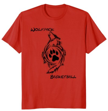 wolfpack t shirt black letters